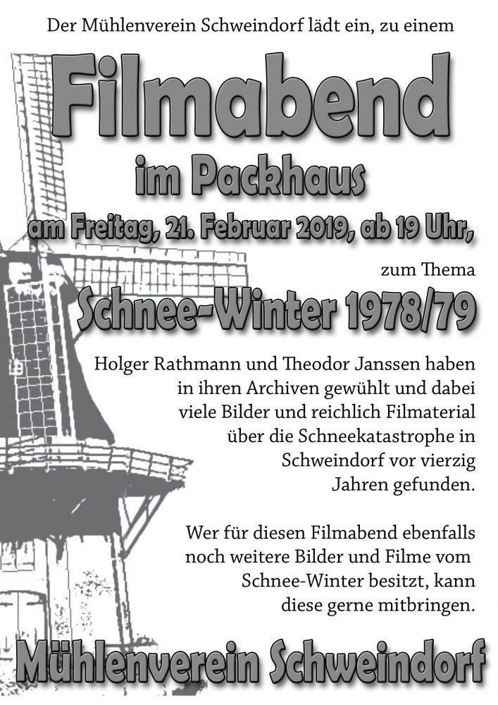 """Filmabend zum Thema """"Schneewinter 1978/79"""" @ Mühle Klaashen"""